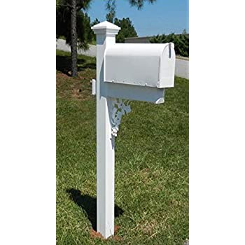 The McRae White Vinyl /PVC Mailbox Post (Includes Mailbox)