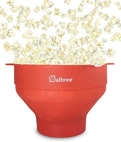 Salbree Microwave Popcorn Popper, Silicone Popcorn Maker, Collapsible Bowl Red (Popcorn Popper For Fireplace compare prices)