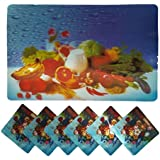 Positive Feeling Cool Relaxing 3D Printed Holographic Vegetable Fruit Design Placemats For Table 6 Mats + 6 Coasters...