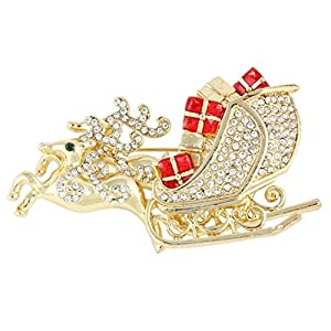 Ever Faith Gold-Tone Austrian Crystal Christmas Brooch Reindeer Sleigh Gifts Clear N04522-2