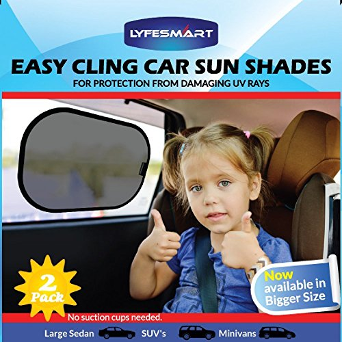 Car Window Shade - Large (2 Pack) by LYFESMART for SUVs and Minivans| Premium Baby Car Sun Shade | Easy Cling Kids Car Sunshade | Best for blocking over 97% of Harmful UV Rays (SUV's & Minivans) (Mazda Cx9 Sun Shade compare prices)