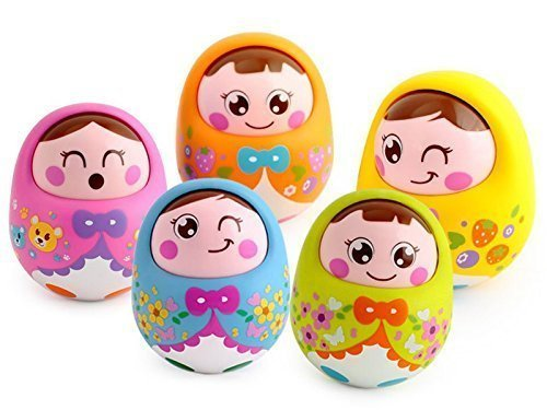 N&M Push And Shake Wobbling Durable Roly Poly Tumbler Doll With Soft & Sweet Bell Sounds - Color May Very