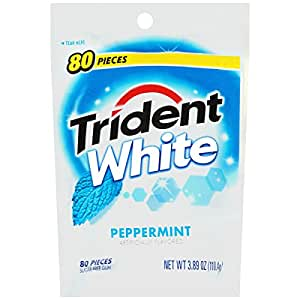 Trident Gum, White Peppermint, 80-Count (Pack of 4)