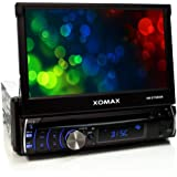 """XOMAX XM-DTSB906 Car stereo / Moniceiver with 18 cm (7"""") LCD touchscreen + Codefree DVD / CD player + Bluetooth hands-free set and music streaming for MP3 player or mobile phone + SD slot and USB port for MP3 and DivX files + Standard single DIN (DIN1) dimensions + Keyboard backlight: BLUE, RED or PINK + Includes remote control"""