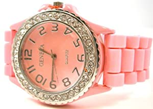 Pink Geneva Crystal Rhinestone Large Face Watch with Silicone Jelly Link Band