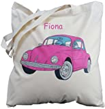 Personalised - Pink VW Beetle - Natural Cotton Shoulder Bag
