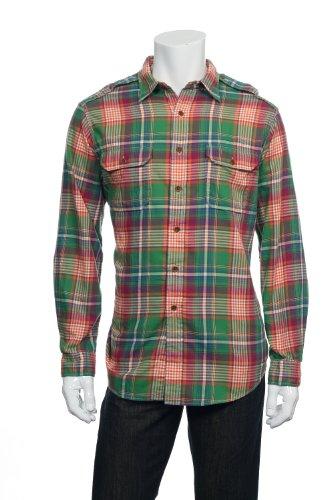 Polo Ralph Lauren Men'S Classic Fit Plaid Military Shirt, Green/Purple, Xl