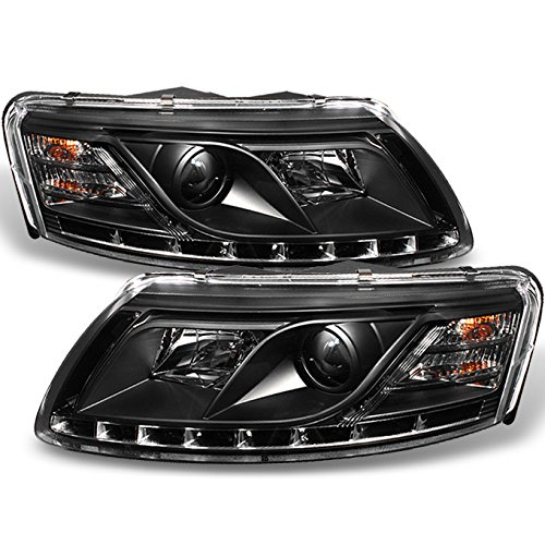 Audi A6 C6 Sport Sedan Black Bezel DRL Daytime LED Strip Projector Headlights Lamps Left + Right (Audi A6 2006 Headlight Assembly compare prices)