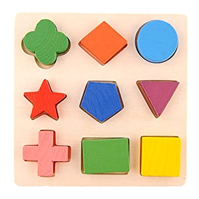 Wooden Shapes Stacking Building Block Brick Toy Educational Play Puzzle