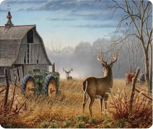 Deer Barn Tractor Scene New Mouse Pad Mat