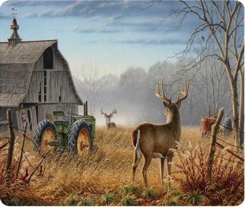 Deer Barn Tractor Scene New Mouse Pad Mat