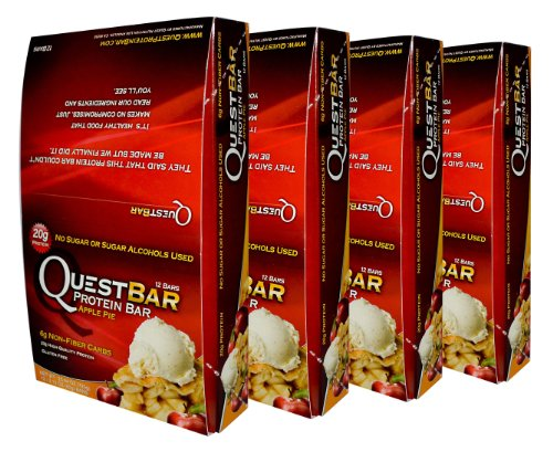 Quest Bar Apple Pie-4 Boxes- Low Carb Protein Weight Loss Muscle Building (48 Bars)