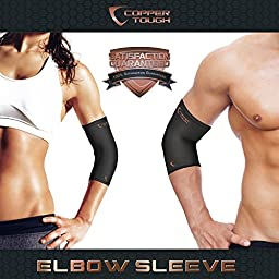 Copper Tough Compression Elbow Brace - High Performance Copper Compression Sleeve for Enhanced Circulation, Recovery, Joint Pain and Support for Men and Women - Athletic or Everyday Use - Small