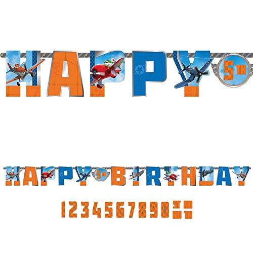 Amscan Disney Planes 2 Birthday Jumbo Add-An-Age Letter Party Banner (1 Piece), Blue/Orange, 10 1/2' x 10""