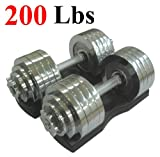One Pair of Adjustable Dumbbells Chrome Plated Metal Total 200 Lbs (2 X 100 Lbs) with Trays