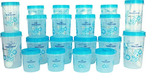 Princeware Twister Combo Plastic Package Container Set, 20-Pieces, Blue