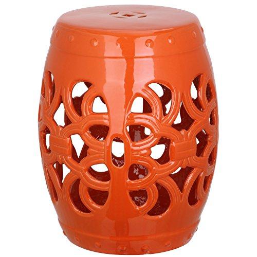 Safavieh Castle Garden's Collection Glazed Ceramic Orange Imperial Vine Garden Stool (Imperial Vine compare prices)