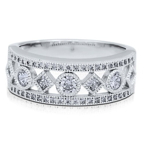 Sterling Silver 925 Cubic Zirconia CZ Fashion Half Eternity Ring Band - Nickel Free Engagement Wedding Band Ring Size 5