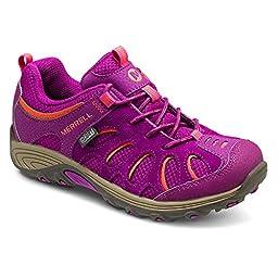 Merrell Chameleon Low Lace Waterproof Hiking Shoe (Little Kid/Big Kid), Fuchsia/Orange, 3 M US Little Kid