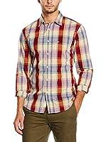 Dockers Camisa Hombre Laundered Poplin (Crema / Granate)