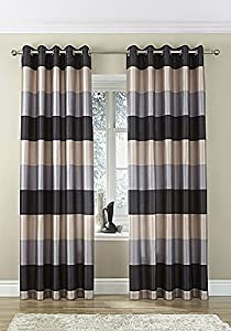 "Brazil Black Silver Beige Striped Faux Silk Lined Ring Top 46"" X 48"" Curtains #oir from PCJ SUPPLIES"