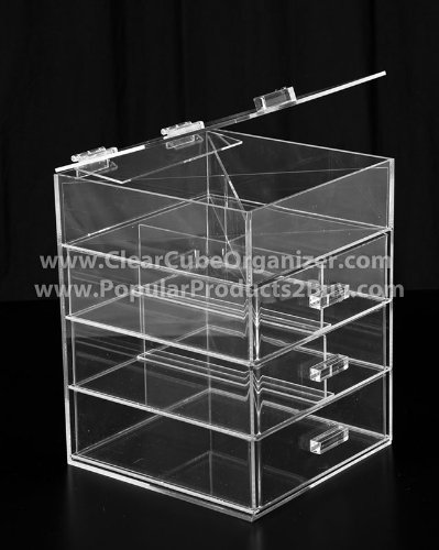 Acrylic Clear Cube Makeup Organizer 3 Drawers plus one w/Lid Display