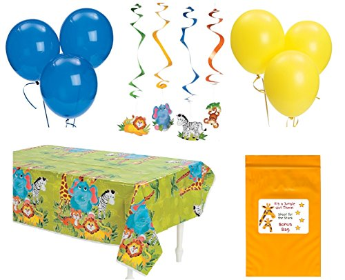 Zoo Animal Baby Shower Birthday Party Decorations Pack (1 Jungle theme Tablecover, 12 Hanging Safari Animal Swirls & 12 Balloons) (Animal Shower Decorations compare prices)