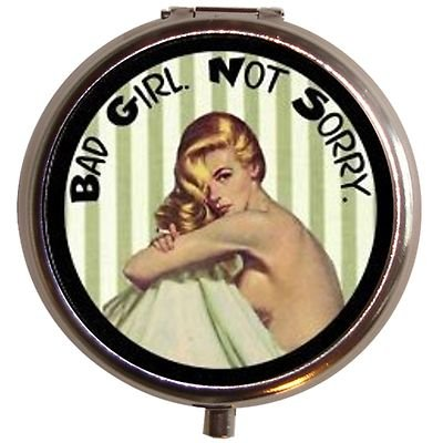 Bad Girl Not Sorry Rockabilly Pill Box Case Pin Up