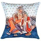 MeSleep Digital Print Beautifully Painted Raja Rani Cushion Cover - Multicolor