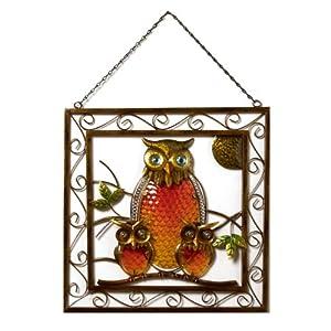 Stained Glass Owl Family Wall Hanger Garden Art