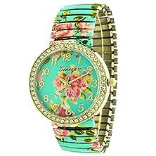 buy Turquoise Rose Design Legible Stretching Comfortable Band Flexible Links Gem Set Ladies Girls Watch