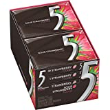 Five Sugar Free Gum, Sour Strawberry Flood, 15 Stick Slim Pack (Pack of 10)