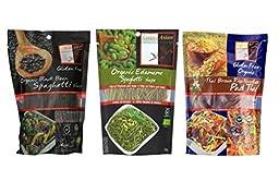 Explore Asian Organic Gluten Free Pasta 3 Flavor Variety Bundle: (1) Organic Black Bean Spaghetti, (1) Organic Edamame Spaghetti, and (1) Organic Thai Brown Rice Pad Thai Noodles, 7.05-8 Oz. Ea.