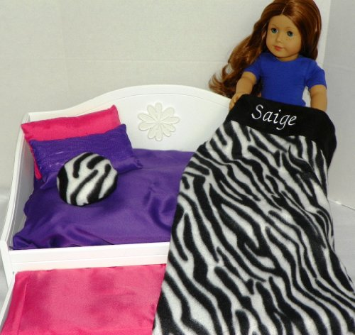 Doll Bedding 6 Piece Set Blanket, Pillows, Sheets Zebra Print Personalized for American Girl Doll Saige Amazon.com