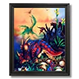 Dinosaurs Triceratops Kids Room Home Decor Wall Picture Black Framed Art Print