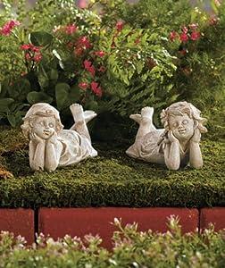Set Of 2 Ceramic Children Best Friends Garden