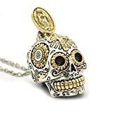 Sterling Silver Sugar Skull Necklace Pendant Jewelry (Large)