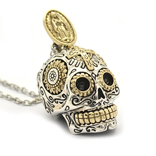 Sterling Silver Sugar Skull Necklace Pendant