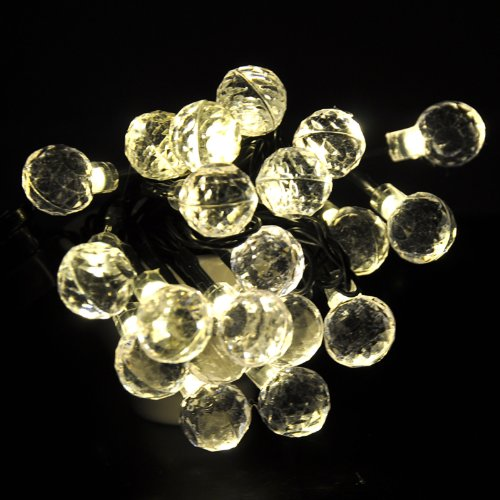 Lychee® Frosted Spheres Solar Powered String Light With Ball-Shaped Garden Lamp Yard Lamp For Room Home Garden Christmas Party Decoration (Warm White, 5M 20Leds)