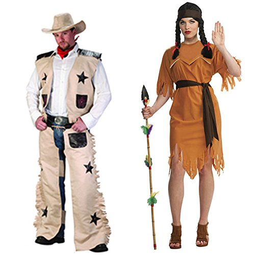 HDE His & Hers Cowboys & Indians Adult Halloween Couples Costumes