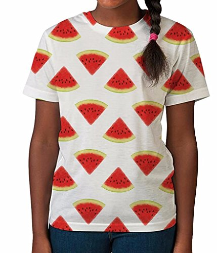 Watermelon Print Fun Food Fruit Healthy Cool Girls Unisex Kids Child T Shirt
