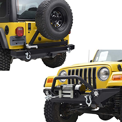 E-Autogrilles YJ TJ Jeep Wrangler Front and Rear Bumper with LED Lights and Tire Carrier