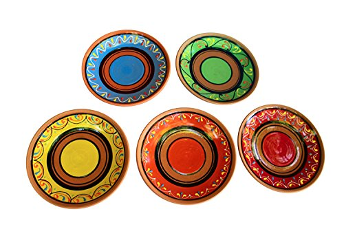 Terracotta Salad Plates Set of 5 - Hand Painted From Spain (Mexican Salsa Plate compare prices)