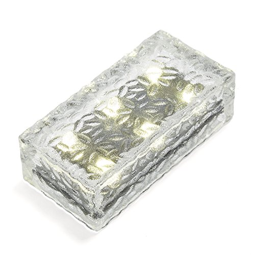 Warm White Rectangular 7.5″ x 3.85″ x 2.35″ Frosted Glass Solar Brick Paver Light with 6 Leds