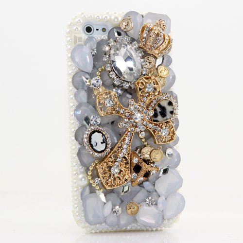 Best Price BlingAngels® 3D Luxury Bling iphone 5 5s Case Cover Faceplate Swarovski Crystals Diamond Sparkle bedazzled jeweled Design Front & Back Snap-on Hard Case + FREE Premium Quality Stylus and Water-Resistant Bag (100% Handcrafted by BlingAngels) (Golden Cross and Crown with White Pearls)