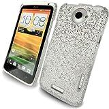 JJOnline HTC ONE X - White / Silver Hard Glitter Fiber / Disco Mobile Phone Case Cover