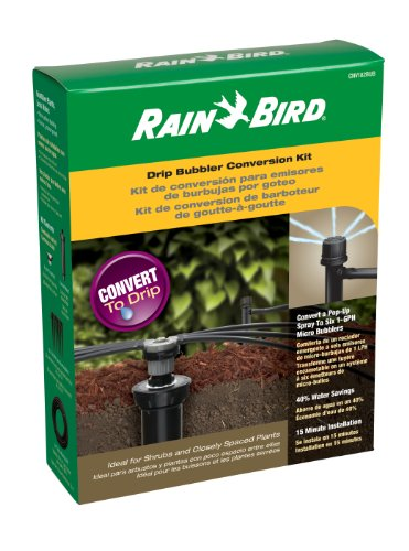 Rain Bird CNV182BUB Drip Irrigation Sprinkler Conversion Kit, 1800 Pop-Up to 6 Drip Micro Bubblers with Tubing