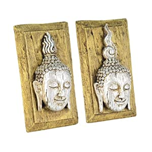 Realistic Wooden Design Resin Buddha Head Wall Art Plaque - Two Designs Available from Gardens2you
