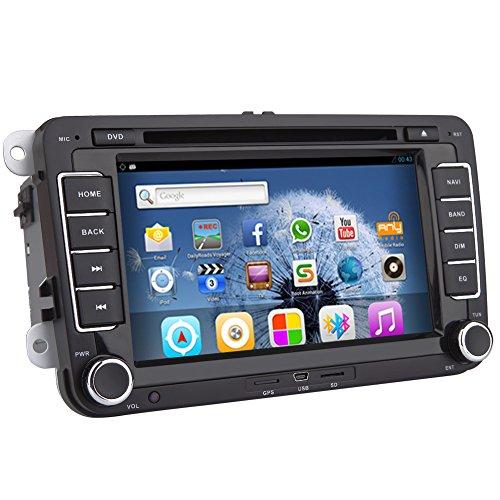 Pupug Double 2 Din 7″ GPS NAV SAT Radio Android Bluetooth WIFI Canbus Ipod Car Stereo DVD Player FOR Volkswagen/New Magotan/Sagitar/ Golf/ Bora/Touran/ Jetta/New Santana(2013) Head Unit Built In MAP