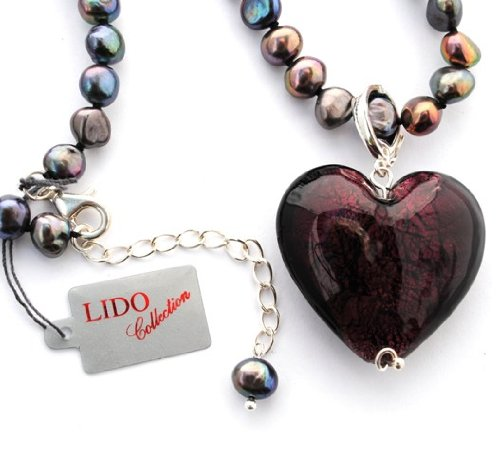 Designer Jewellery - Lido Freshwater Pearl Purple Heart Necklace